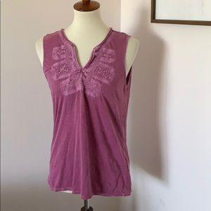 Lucky brand purple distressed sleeveless shirt